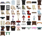 Stylish Furniture Clip Art - Public Domain Vector Art - Chairs, Beds, Tables