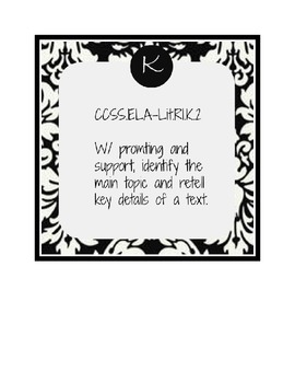 Stylish Kindergarten Common Core Reading Standards in Damask Pattern