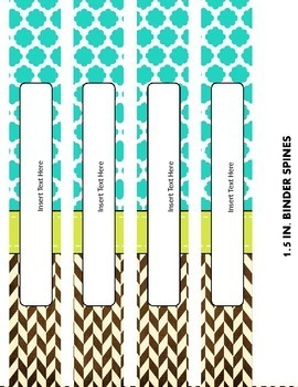 EDITABLE Binder Covers and Spines {Turquoise, Lime and Brown}