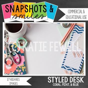 Photo: Stylized Desk: Blue Mint Coral: 17 images