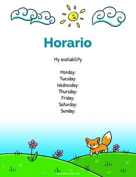 Su Maestro / Maestra, Lista y Horario - Editable Word Templates en español