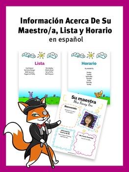 Su Maestro / Maestra, Lista y Horario - Editable Word Temp