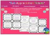 Substitute Appreciation Student Tickets - Target & Coach Behavior, Reward Kids