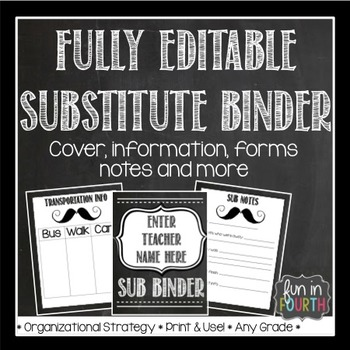 Editable Sub Binder - Chalkboard Themed