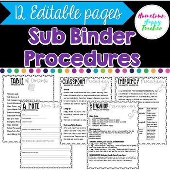 Sub Binder- Editable