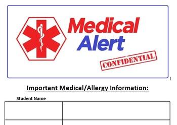 Sub Binder Medical Alert Confidential Student Records