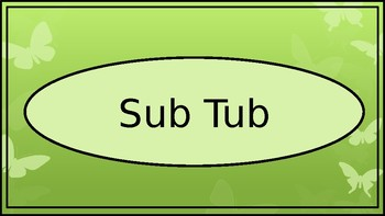 Sub Binder or Tub Labels - Butterfly Theme - Wide