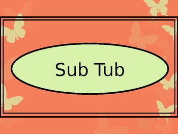 Sub Binder or Tub Labels - Coral Butterfly Theme