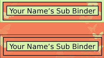 Sub Binder or Tub Labels - Coral Butterfly Theme - Wide