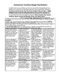 Sub Bingo Worksheet (With Use of Technology Access)