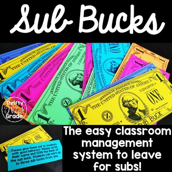Sub Bucks -Easy Classroom Management for Subs