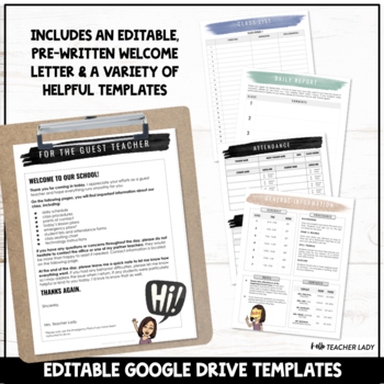Sub Folder Templates - Editable Substitute Binder Forms for Middle & High School