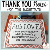 Sub LOVE Freebie! Thank You Notes for Substitute Teachers