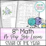 8th Math No Prep Sub Lesson / Substitute Teacher Activity - Start of The Year