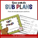 Sub Lesson plan for one day Oso Pardo