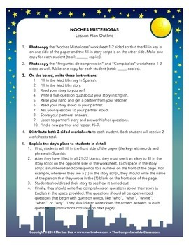 Spanish Substitute Activities Bundle: Noches Misteriosas Mad Libs