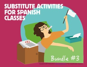 Spanish Substitute Activities Bundle #3: Storyboards for Levels 1 and 2