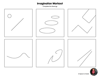 Sub Plan - Imagination Workout Worksheets - Creativity Doodles - Art Sub Plan