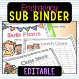 Sub Binder Kindergarten 1st Grade Editable