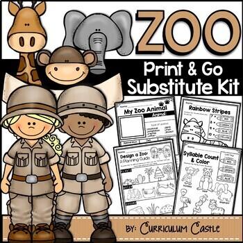 Sub Plans: Zoo Theme Math & Literacy Activities Substitute Kit {Print & Go}