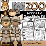 Sub Plans: Zoo Theme Math & Literacy Activities Substitute Kit {Print & Go}