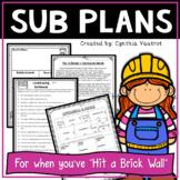 Substitute Teacher - Sub Plan Activities for 4th Grade (Construction Theme)