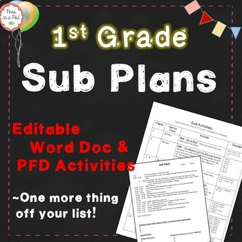 First Grade Sub Plans, 1st Grade Substitute Plans