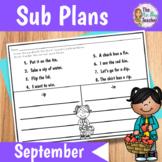 Sub Plans 1st Grade September