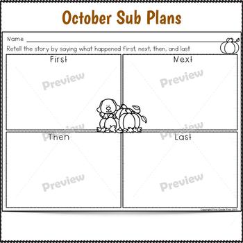 Sub Plans 1st Grade Fall