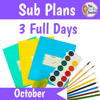 2nd Grade Sub Plans 3 Full Days October