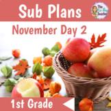 Sub Plans 1st Grade November Day 2