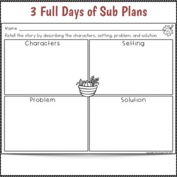 1st Grade Sub Plans 3 Full Days November