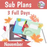 Sub Plans 1st Grade 3 Full Days November