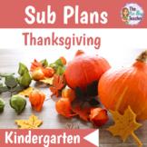 Thanksgiving Activities Sub Plans for Kindergarten