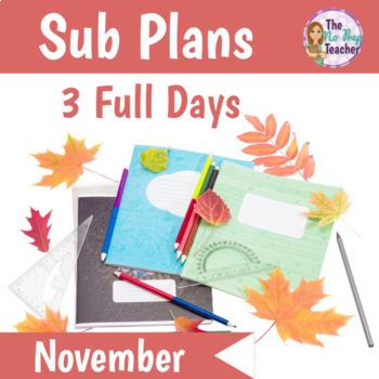 Kindergarten Sub Plans November 3 Full Days