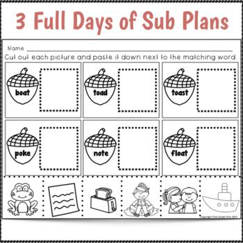 2nd Grade Sub Plans for Three Full Days November Theme