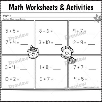 1st Grade Sub Plans December Day 2