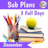 Sub Plans Kindergarten December Bundle