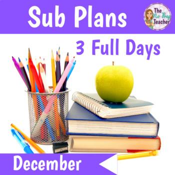2nd Grade Sub Plans December 3 Full Days