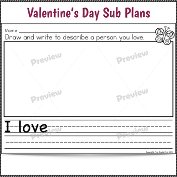 Valentine's Day Activities for Kindergarten Sub Plans