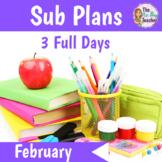 Sub Plans Kindergarten 3 Full Days February