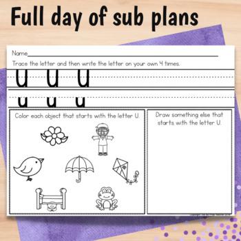 Kindergarten Full Day Sub Plans March