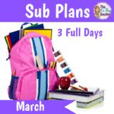 Sub Plans Kindergarten 3 Full Days March