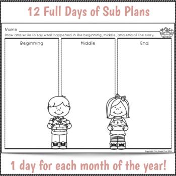 Sub Plans 1st Grade Full Year Bundle