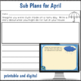 Sub Plans 2nd Grade April