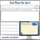 2nd Grade Sub Plans April