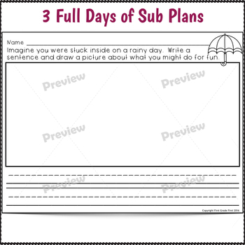 Kindergarten Sub Plans April 3 Full Days