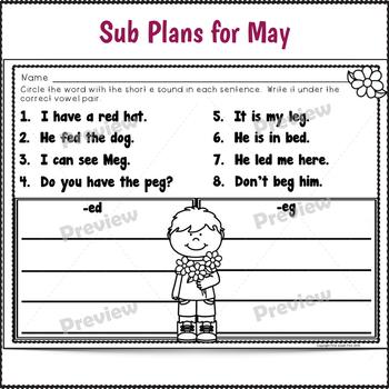 Sub Plans Kindergarten May