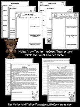 Second Grade Sub Plans Wolfie