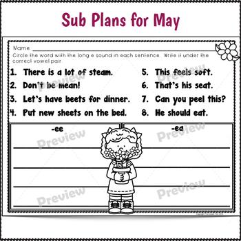 Sub Plans 2nd Grade May